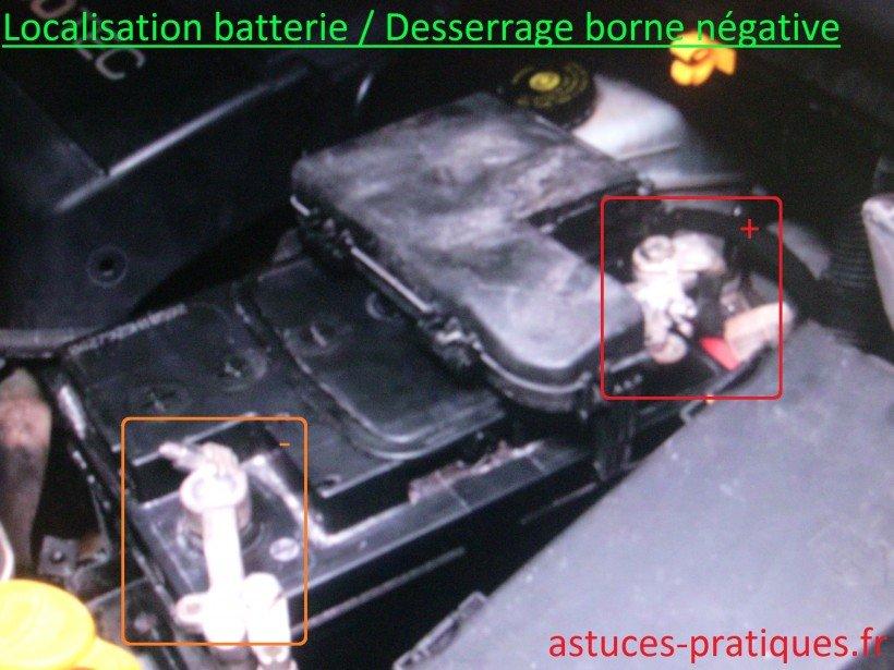 Localisation batterie / desserrage borne négative
