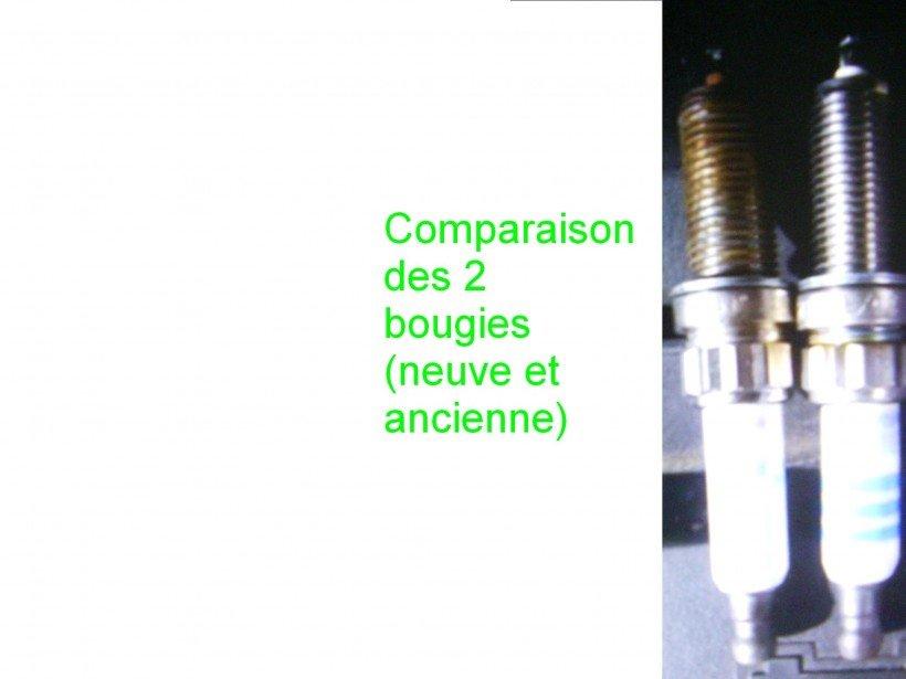 Comparaison bougie neuve/ancienne