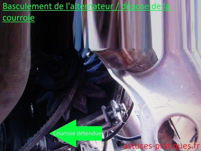 Basculement de l'alternateur / Dépose de la courroie