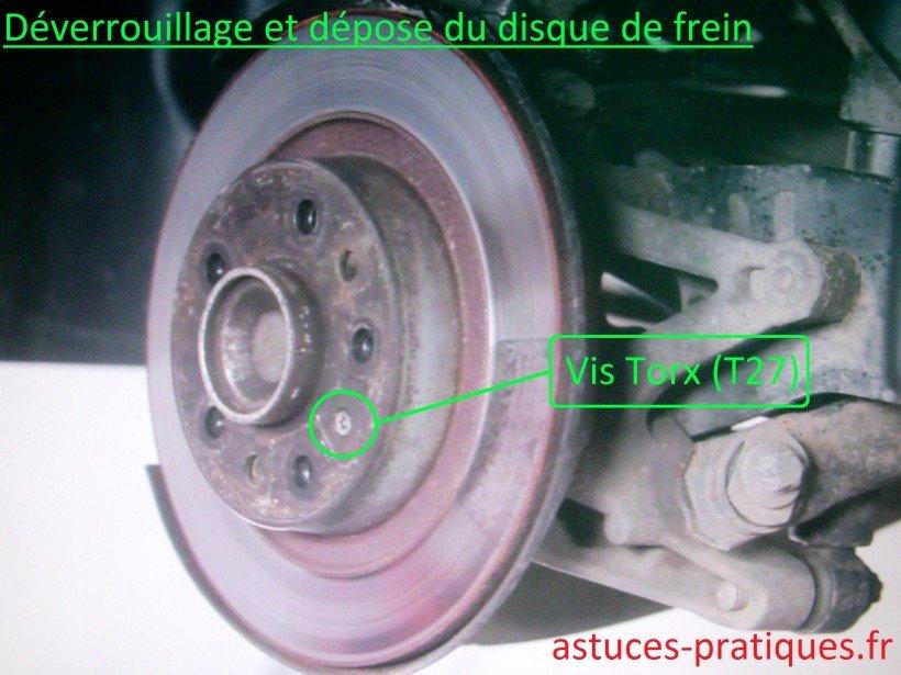 Déverrouillage et dépose du disque de frein