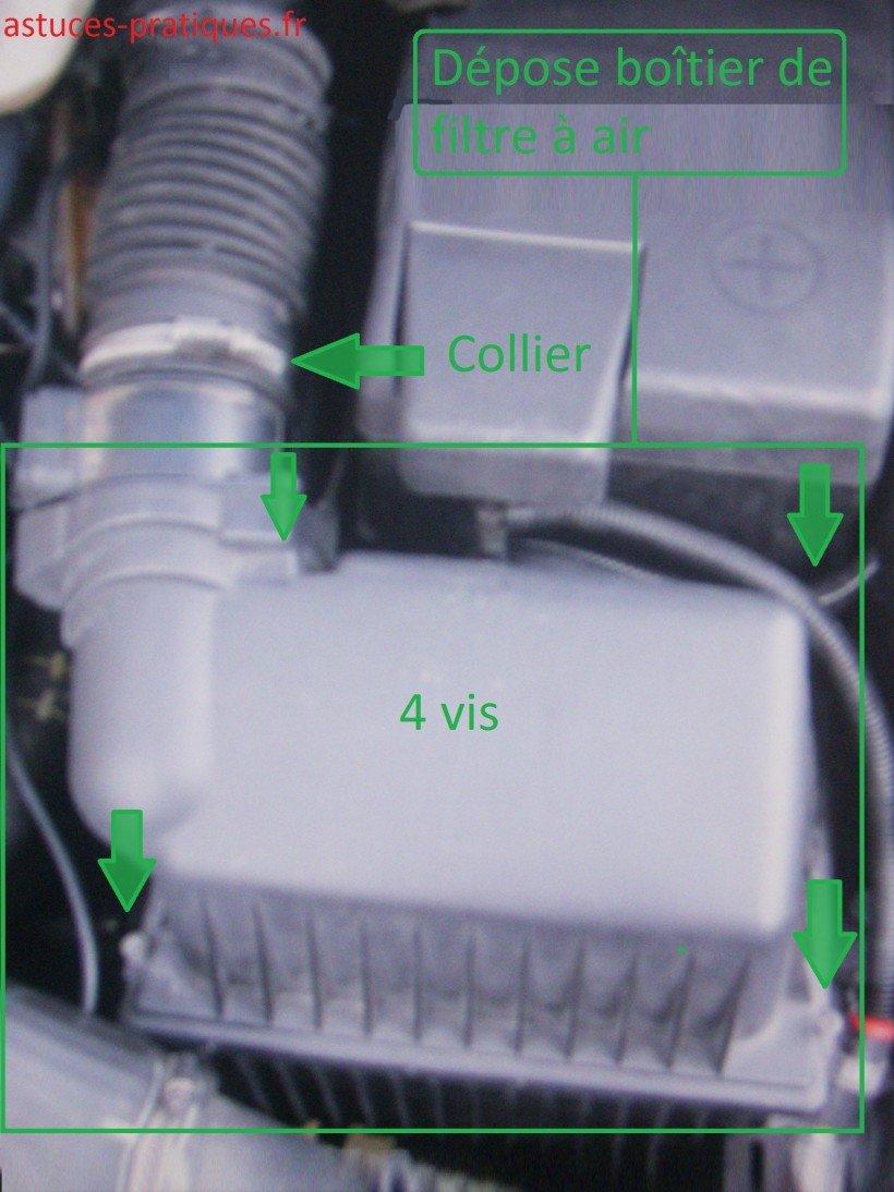 Dépose boîtier de filtre à air