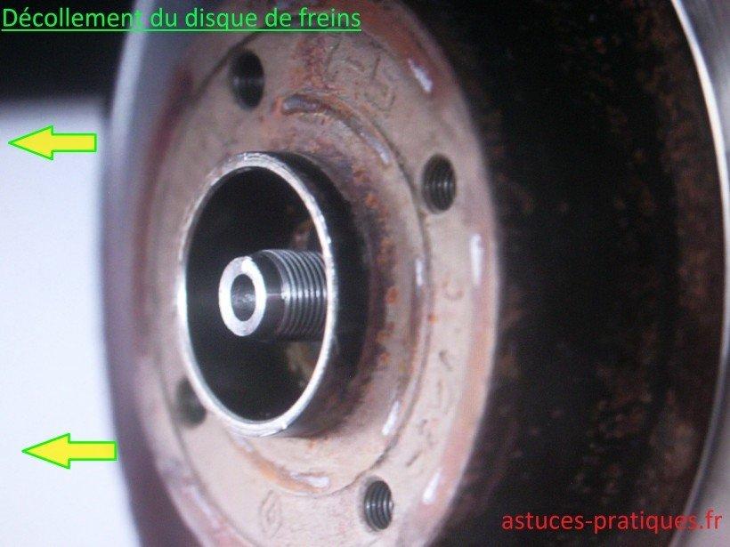 Décollement disque de freins