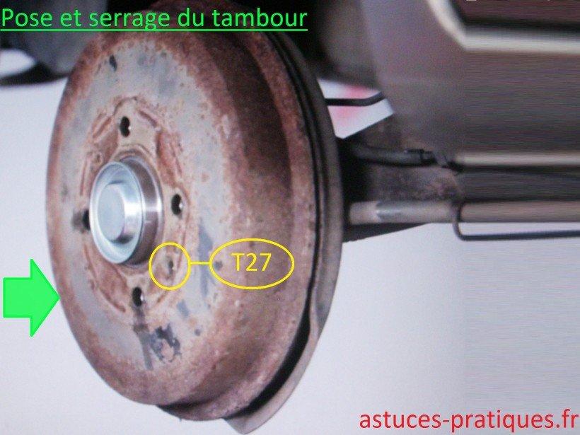 Pose et serrage du tambour