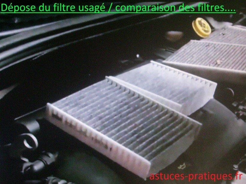 Dépose du filtre usagé et comparaison des filtres
