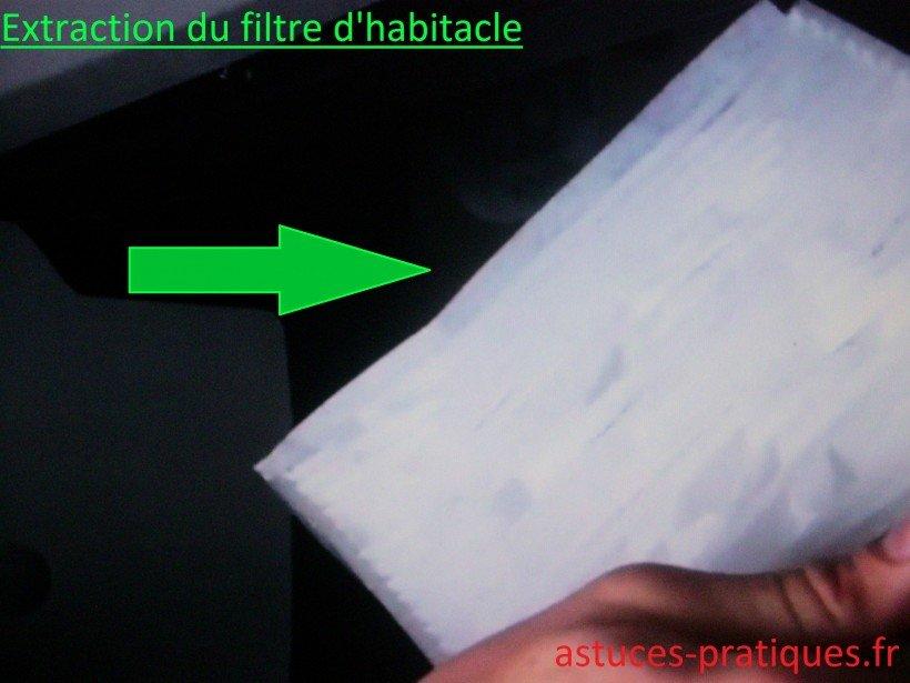 Extraction du filtre d'habitacle