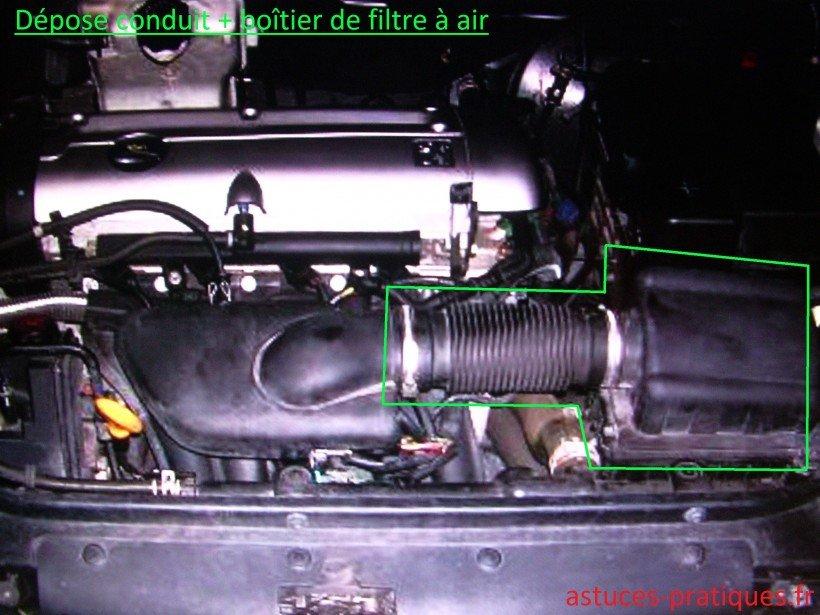 Dépose conduit + boîtier de filtre à air