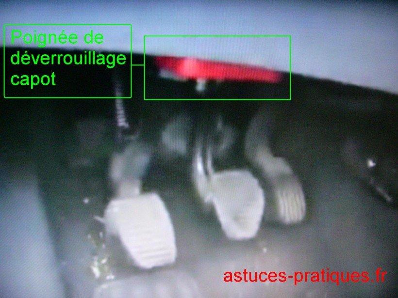 Déverrouillage capot (intérieur)
