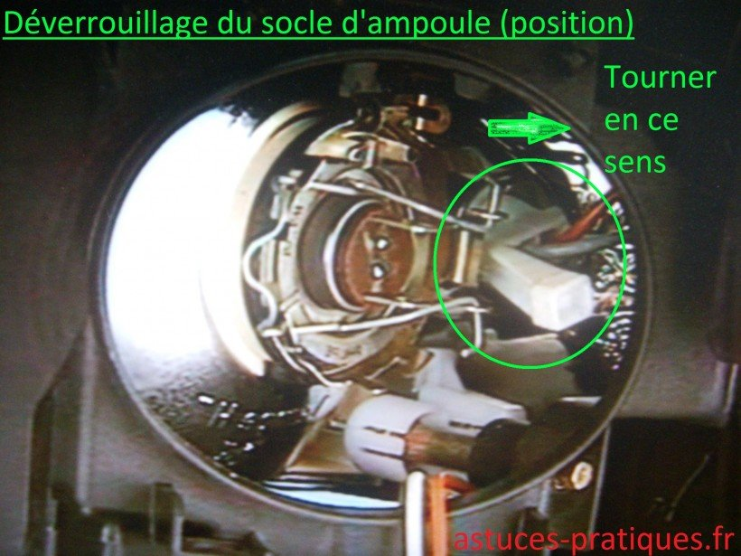Déverrouillage support d'ampoule