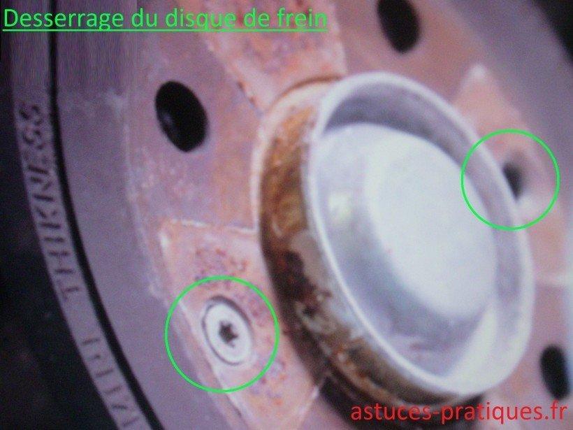 Desserrage du disque de frein