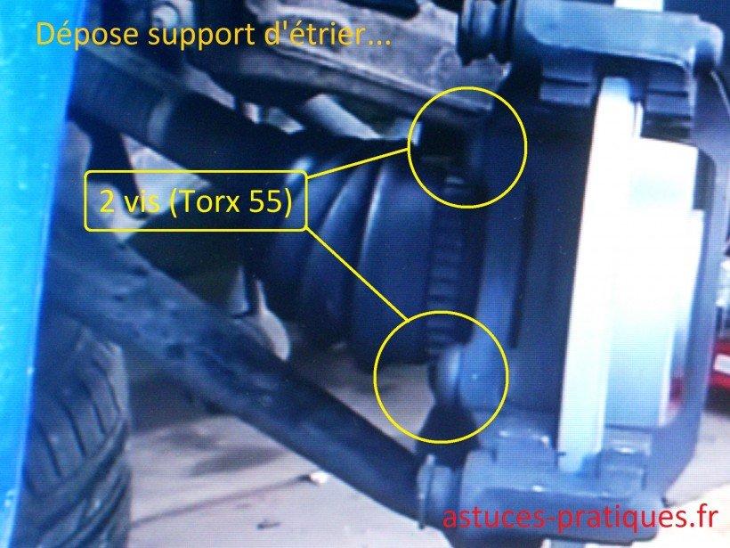 Dépose support d'étrier de freins
