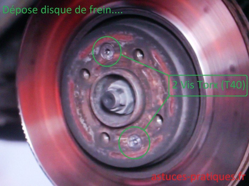 Dépose disque de freins / nettoyage moyeu