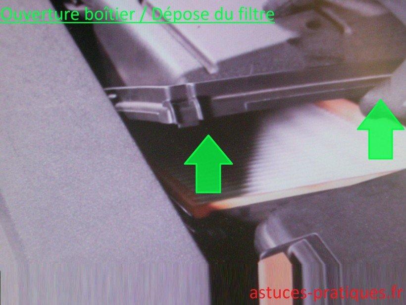 Ouverture boîtier / Dépose du filtre