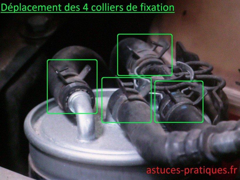 Déplacement des 4 colliers de fixation