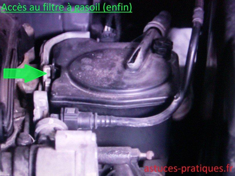 Accès au filtre à gasoil