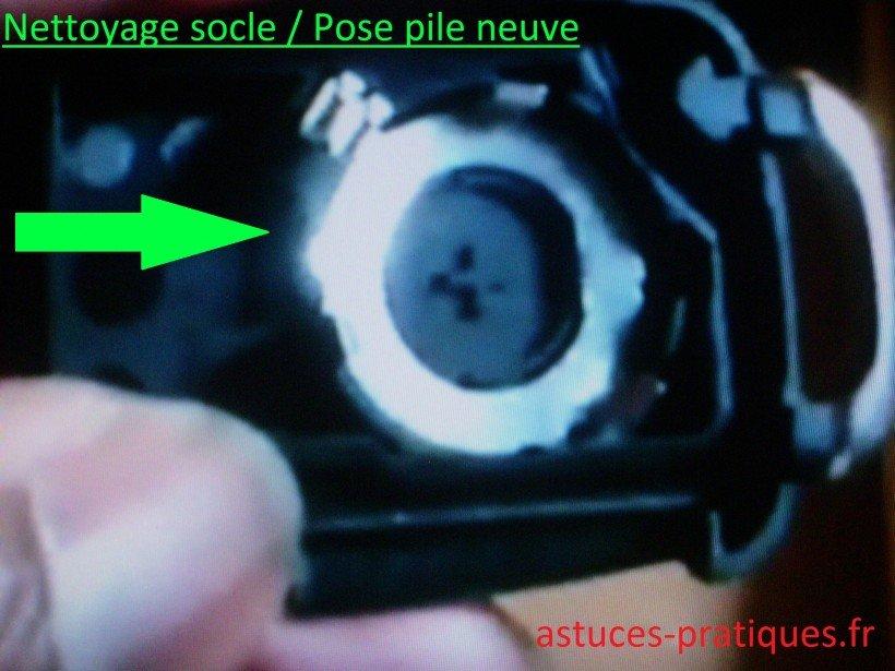 Nettoyage socle / Pile neuve