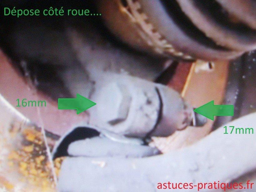 Dépose (côté roue)