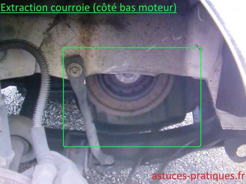 Extraction courroie (bas moteur)