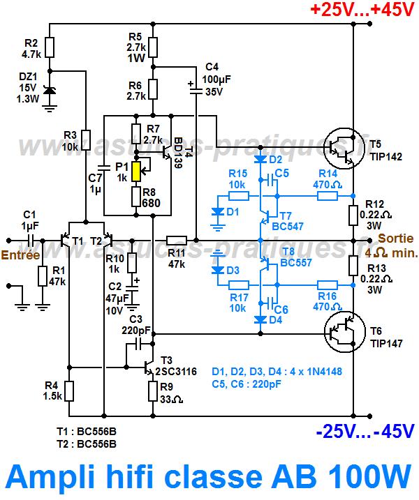 Ampli classe AB 100W : schéma