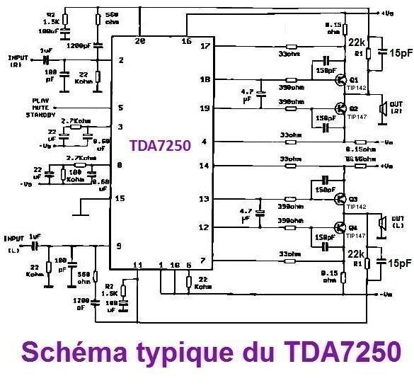 ampli sono a tda7250 2 x 200w realisation 7