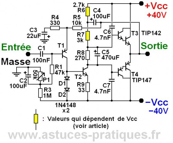 Ampli ultra simple 50W à 200W (schéma)