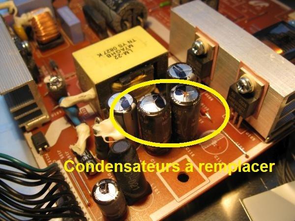 panne écran plat condensateurs