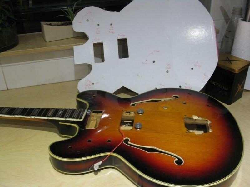 montage sur carton cablage guitare