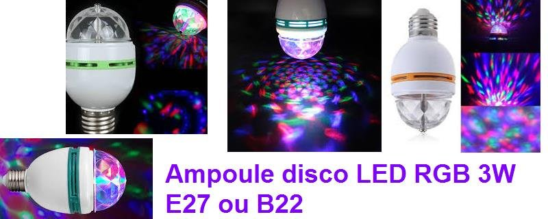 ampoule LED RGB disco 3W