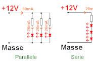 Montage de LED en série et résistance