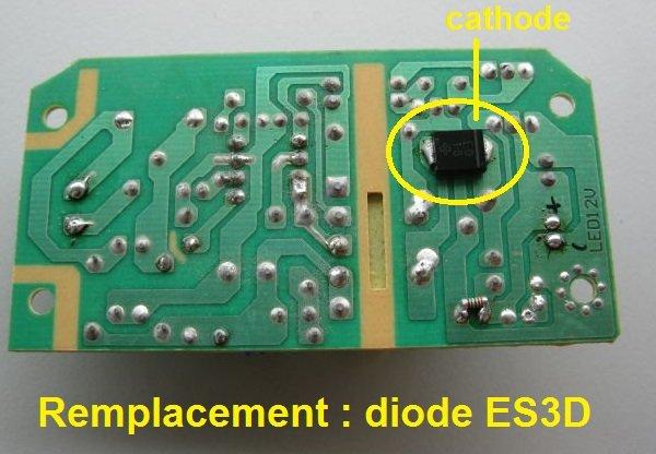 réparer alimentation 12V diode