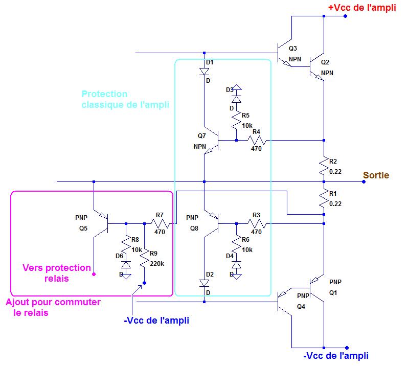 schema protection ampli relais