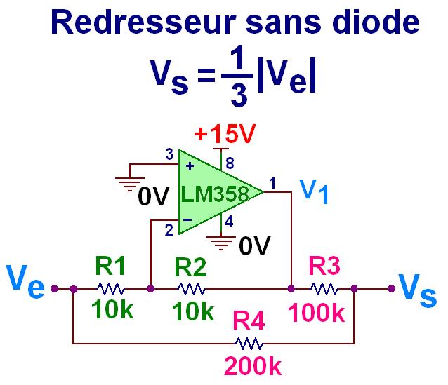 Redresseur double alternance sans seuil ni diode à ampli op