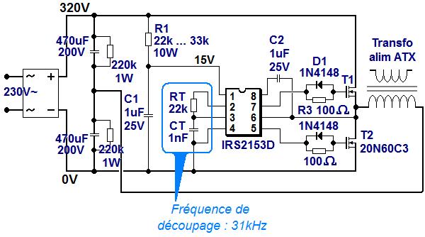schema alimentation a decoupage demi pont irs2153 0
