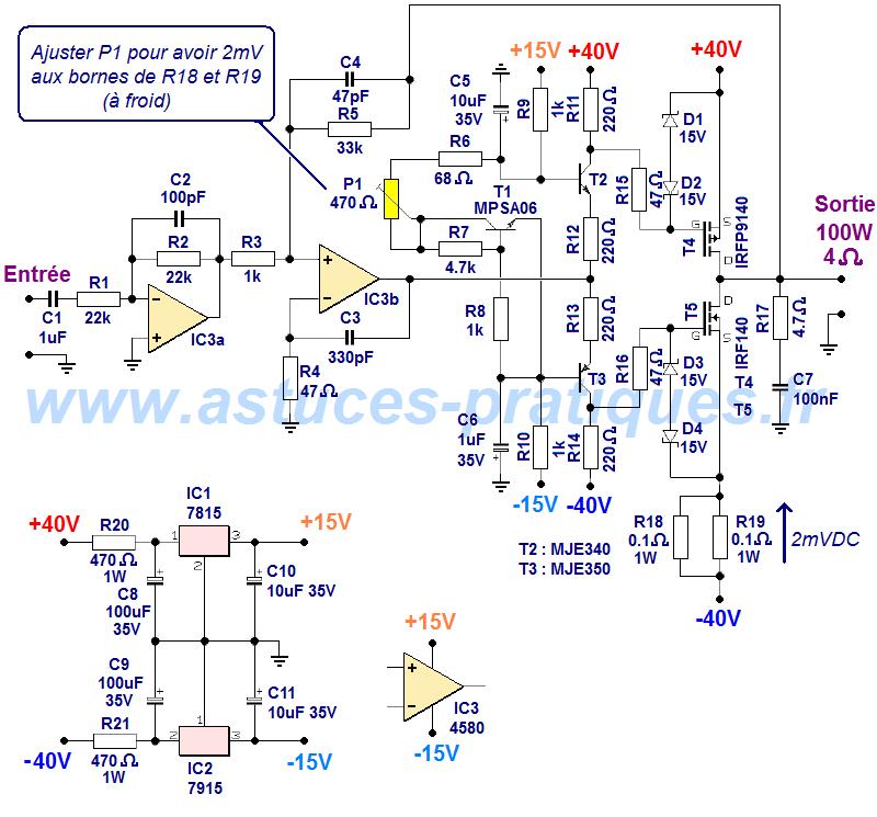 schema ampli mosfet 100w simple
