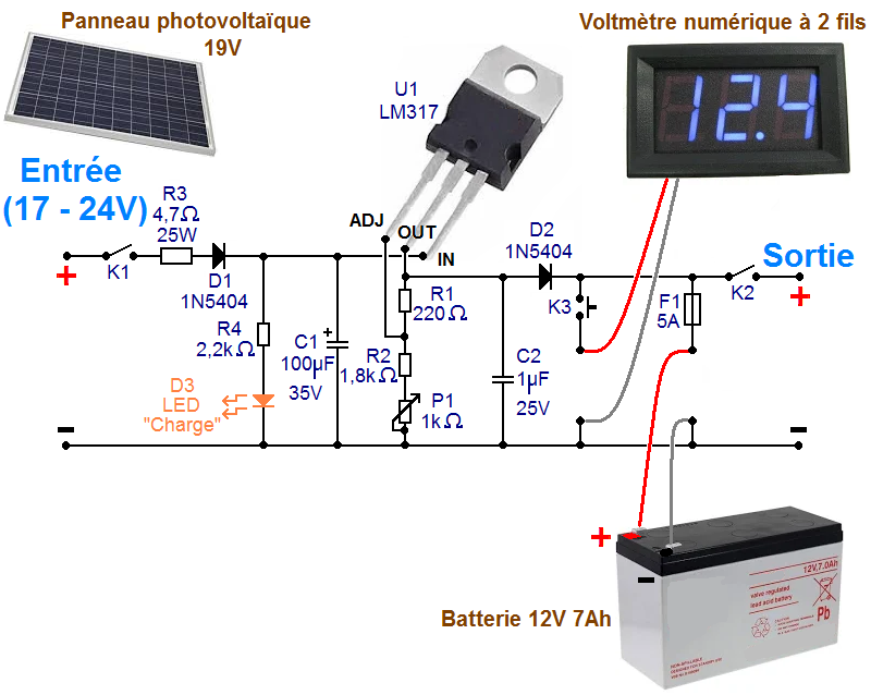 schema chargeur solaire 5v