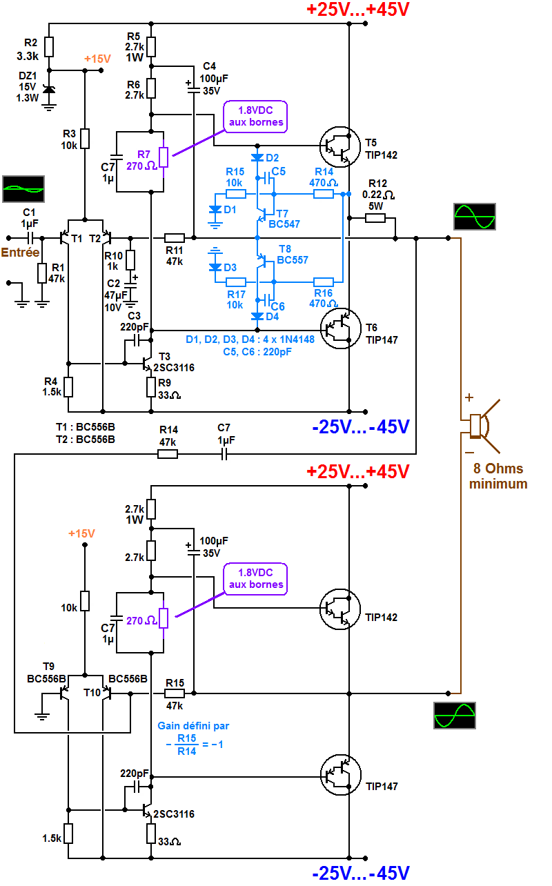 schema ampli bridge 300W simple