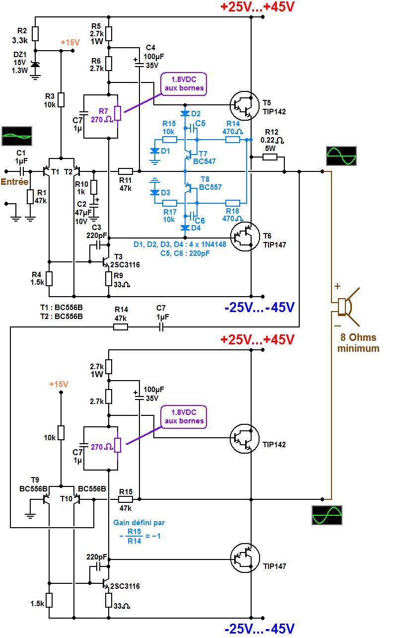 schema ampli bridge 300W simple