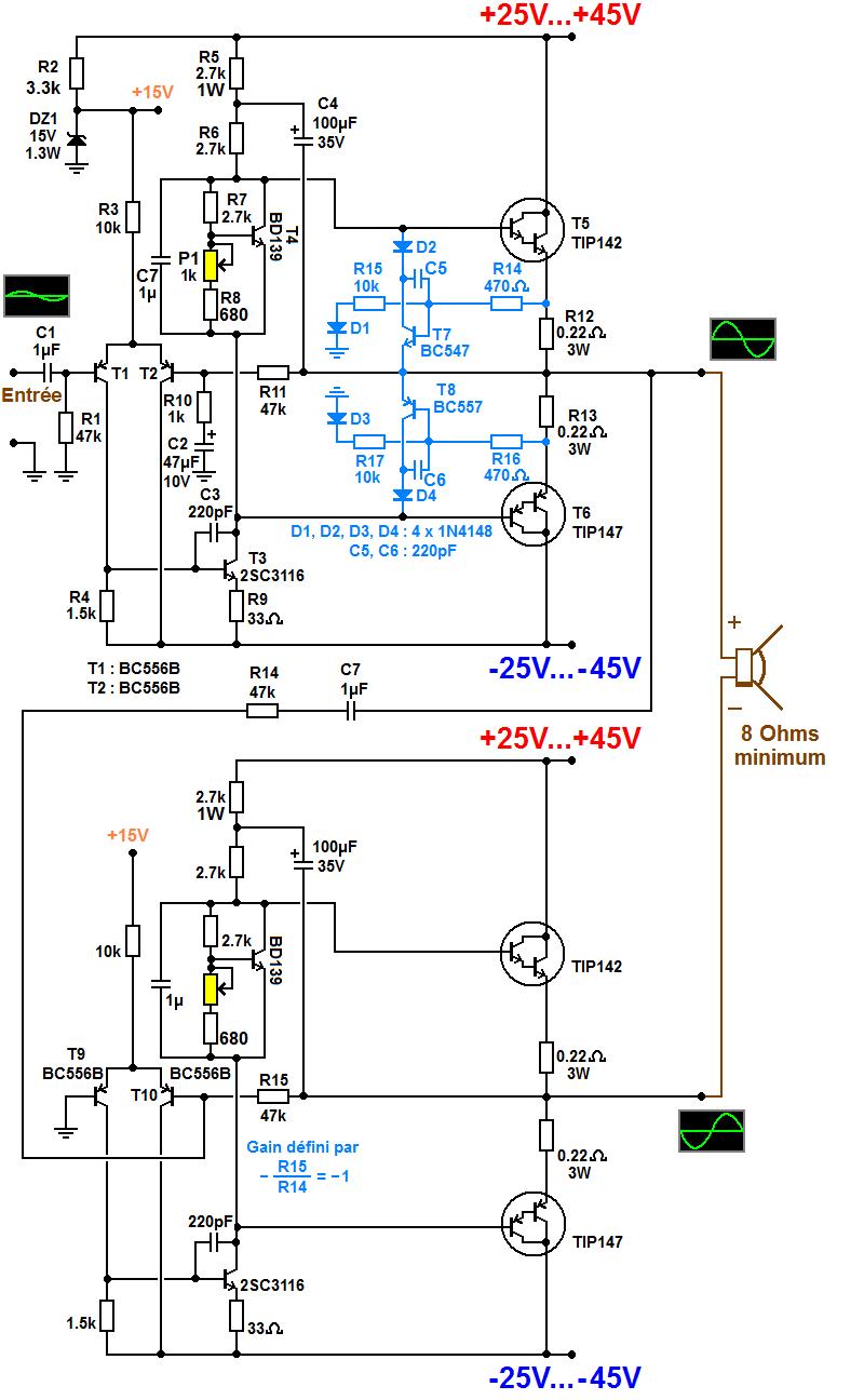 schema ampli bridge classe AB