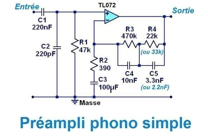 schema preampli phono a ampli op 5
