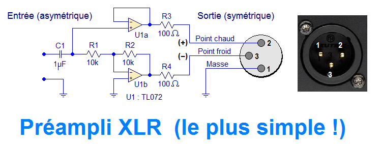 schema preampli sortie xlr simple
