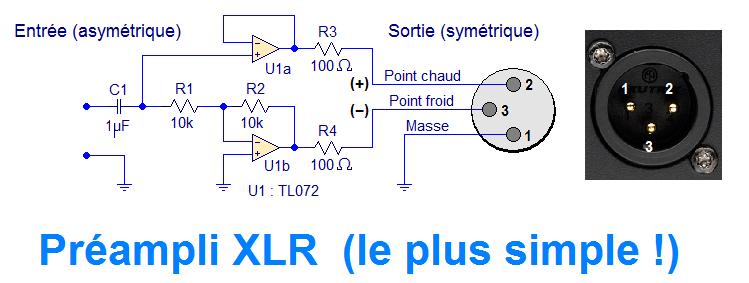 schema preampli sortie xlr simple