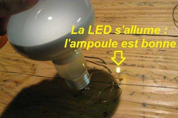 tester ampoule avec pile 9v