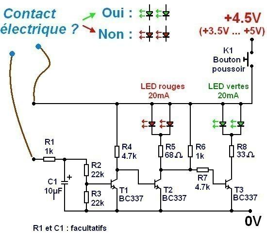 Testeur de continuité à 2 LED : schéma