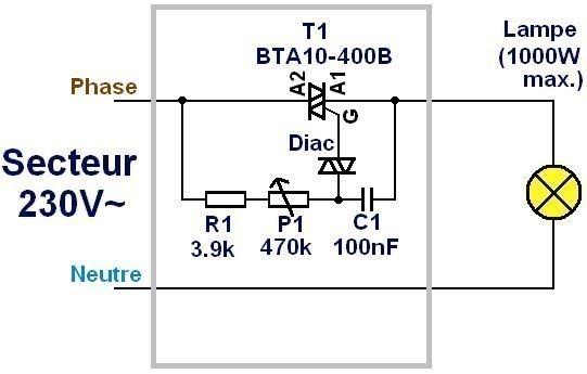 variateur a triac fonctionnement et schema 1
