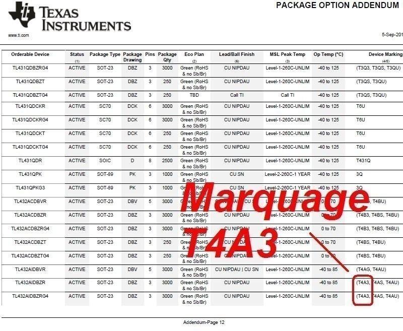 marquage T4A3 SOT23 TL432