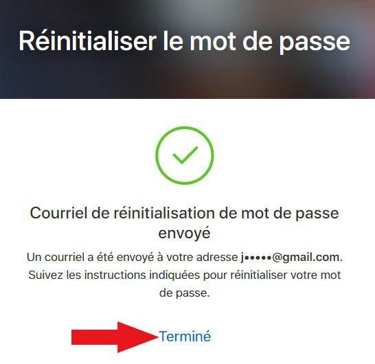 fin réinitialisation mot de passe icloud