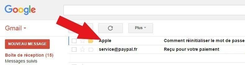 mail réinitialisation mot de passe icloud