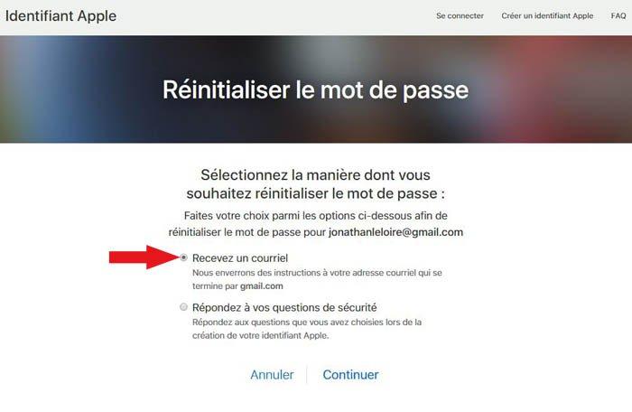récupération mot de passe icloud par email