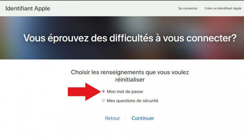 réinitialisation du mot de passe icloud apple