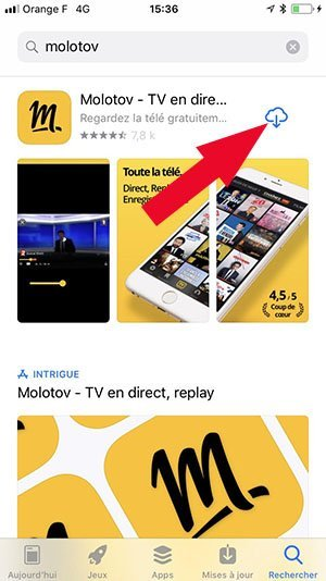 installer molotov regarder tv iphone