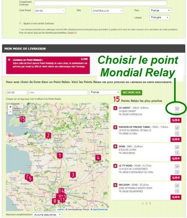 Point Mondial Relay Choisir
